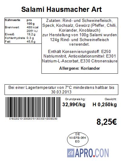 APRO.CON Warenwirtschaft Beispieletikett