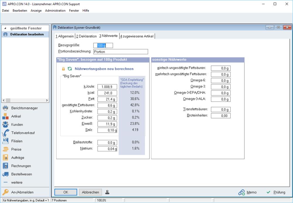 Aprocon Warenwirtschaft System Software Nährwertberechnung